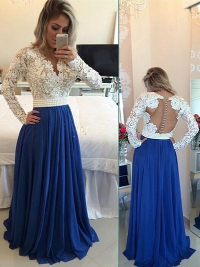 Chiffon Long Sleeves A-Line/Princess Prom Dresses V-neck Beading Sequins Floor-Length (018148499)