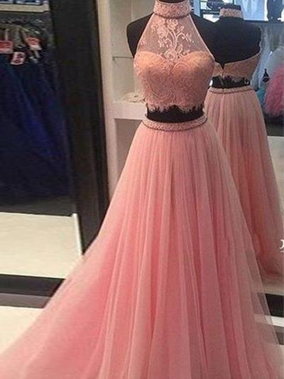Tulle Sleeveless A-Line/Princess Prom Dresses High Neck Lace Floor-Length (018210317)