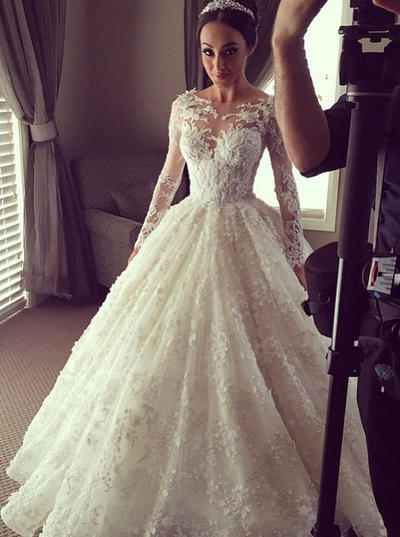 Princess Chapel Train Ball-Gown Wedding Dresses Scoop Lace Long Sleeves (002144873)