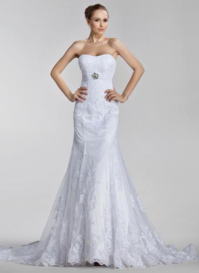 Simple Court Train Trumpet/Mermaid Wedding Dresses Sweetheart Tulle Sleeveless (002000637)