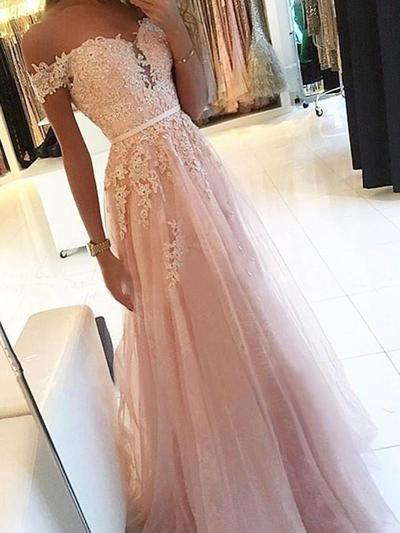 A-Line/Princess Off-the-Shoulder Tulle Sleeveless Floor-Length Sash Appliques Lace Evening Dresses (017217812)