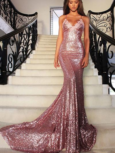 Trumpet/Mermaid V-neck Sequined Sleeveless Court Train Evening Dresses (017216472)