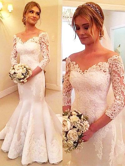 Sweetheart Court Train Trumpet/Mermaid Wedding Dresses Off-The-Shoulder Tulle 3/4 Length Sleeves (002210842)