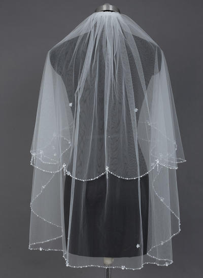 Fingertip Bridal Veils Tulle Two-tier Classic With Beaded Edge Wedding Veils (006151600)