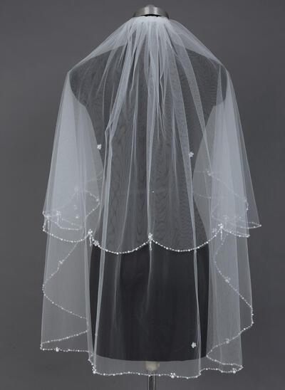 Fingerspitze Braut Schleier Tüll Zweischichtig Klassische Art mit Perlenbesetzter Saum Brautschleier (006151600)