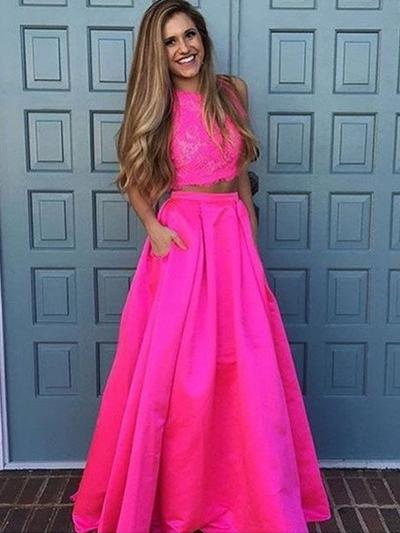 Sleeveless A-Line/Princess Prom Dresses Scoop Neck Lace Floor-Length Detachable (018212206)