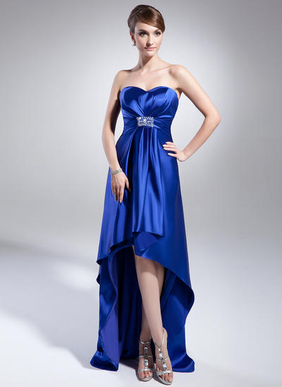 Empire Sweetheart Charmeuse Sleeveless Asymmetrical Beading Sequins Evening Dresses (017014988)