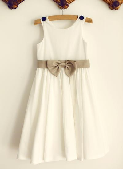 Chic Knee-length A-Line/Princess Flower Girl Dresses Scoop Neck Cotton Sleeveless (010196738)