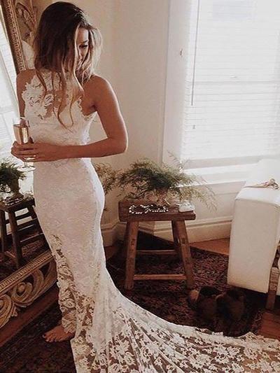 Elegant Chapel Train Trumpet/Mermaid Wedding Dresses Halter Lace Sleeveless (002210832)