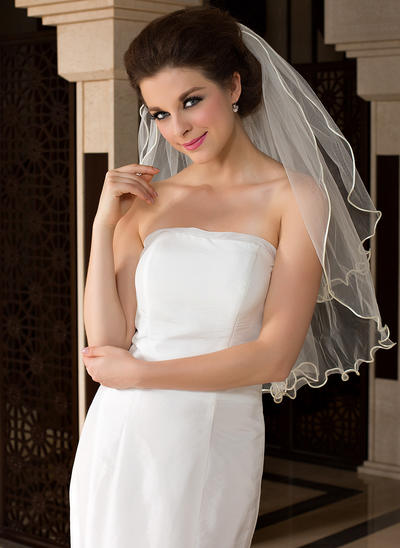 Fingertip Bridal Veils Tulle Two-tier Oval With Scalloped Edge Wedding Veils (006151480)
