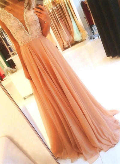Chiffon Sleeveless A-Line/Princess Prom Dresses V-neck Beading Sweep Train (018146526)