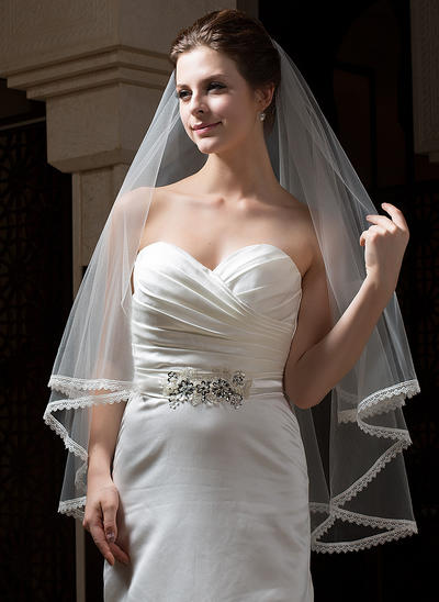 Fingertip Bridal Veils Tulle One-tier Classic With Lace Applique Edge Wedding Veils (006151160)