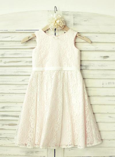 Beautiful Knee-length A-Line/Princess Flower Girl Dresses Scoop Neck Lace Sleeveless (010210160)