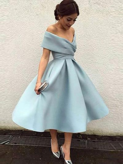 A-Line/Princess Off-the-Shoulder Short Sleeves Tea-Length Ruffle Homecoming Dresses (022216364)