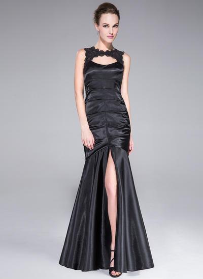 Trumpet/Mermaid Scoop Neck Charmeuse Sleeveless Floor-Length Lace Split Front Evening Dresses (017201292)