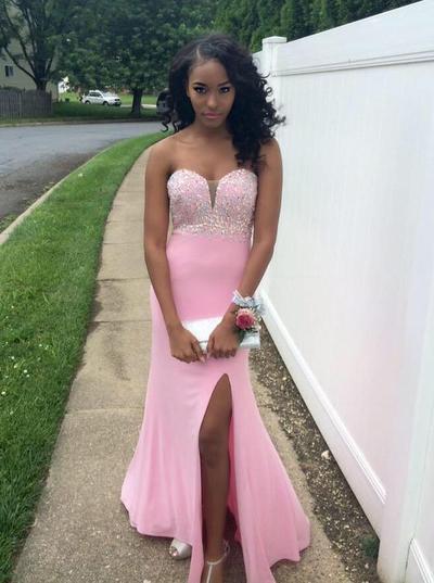 Jersey Sleeveless Sheath/Column Prom Dresses Sweetheart Beading Split Front Floor-Length (018146608)