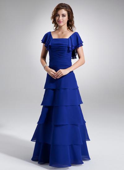 A-Line/Princess Square Neckline Chiffon Short Sleeves Floor-Length Ruffle Beading Cascading Ruffles Mother of the Bride Dresses (008211426)