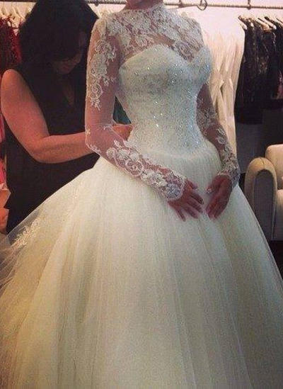 Glamorous Cathedral Train Ball-Gown Wedding Dresses High Neck Tulle Long Sleeves (002147856)