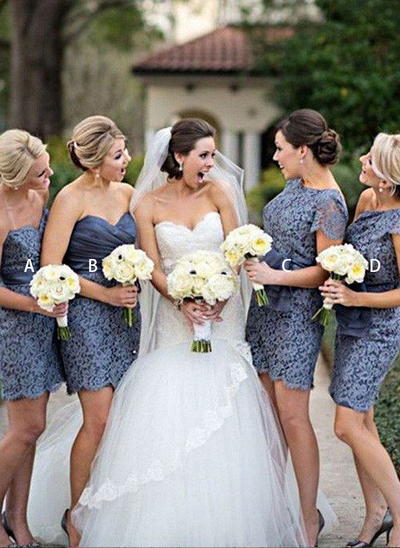 Lace Sleeveless Sheath/Column Bridesmaid Dresses Sweetheart Sash Short/Mini (007211715)