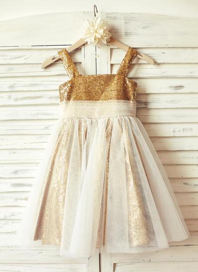 Modern Knee-length A-Line/Princess Flower Girl Dresses Straps Tulle/Sequined Sleeveless (010210169)