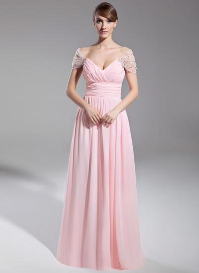 A-Line/Princess Off-the-Shoulder Chiffon Short Sleeves Floor-Length Ruffle Beading Evening Dresses (017014708)