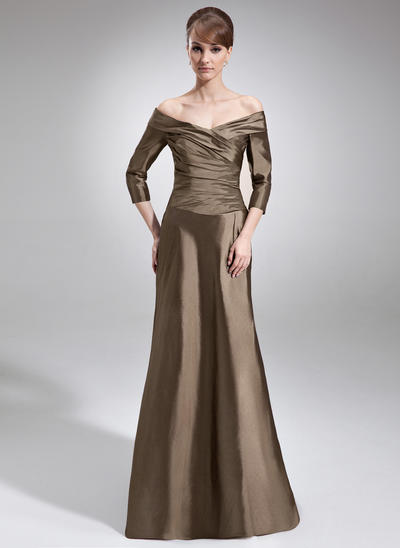 A-Line/Princess Off-the-Shoulder Taffeta 3/4 Sleeves Sweep Train Ruffle Mother of the Bride Dresses (008006211)