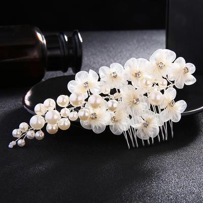 Combs & Barrettes Wedding Imitation Pearls/Silk Flower Elegant (Sold in single piece) Headpieces (042159098)