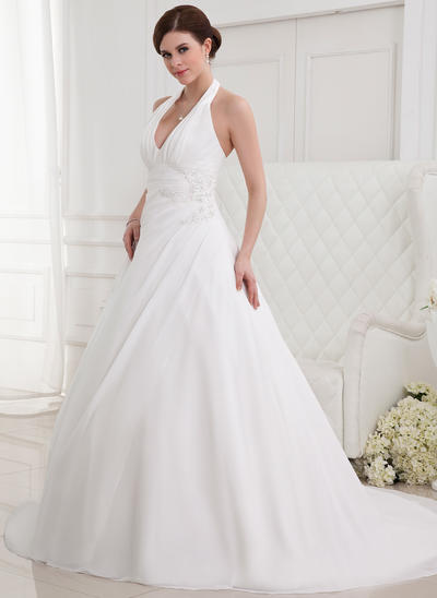 Sweetheart Chapel Train A-Line/Princess Wedding Dresses Halter Chiffon Sleeveless (002211054)