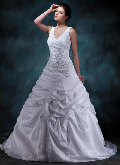 Modern Court Train A-Line/Princess Wedding Dresses Sweetheart Taffeta Sleeveless (002001588)