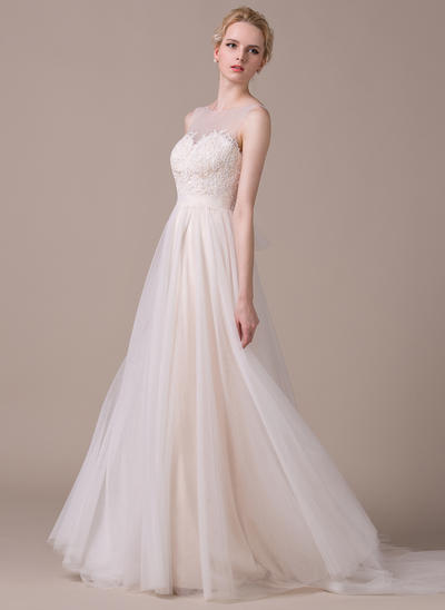 Magnificent Court Train A-Line/Princess Wedding Dresses Scoop Tulle Sleeveless (002210606)
