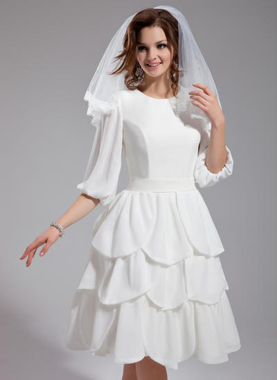 Fashion Knee-Length A-Line/Princess Wedding Dresses Scoop Chiffon (002211050)