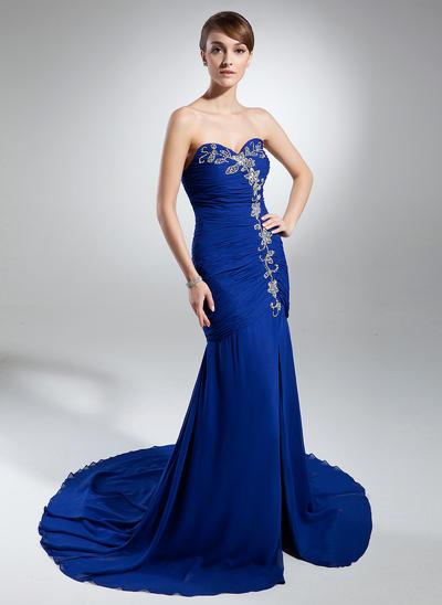 Trumpet/Mermaid Sweetheart Chiffon Sleeveless Chapel Train Ruffle Beading Split Front Evening Dresses (017015317)