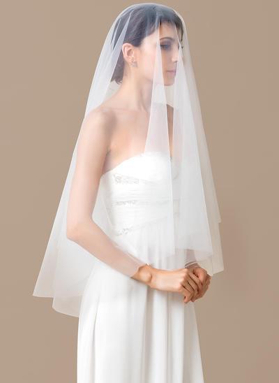 Walzer Braut Schleier Tüll Einschichtig Ovale mit Schnittkante Brautschleier (006151812)
