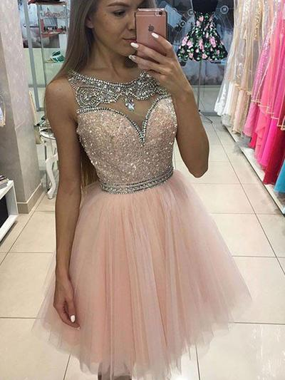 A-Line/Princess Scoop Neck Tulle Sleeveless Knee-Length Beading Sequins Evening Dresses (017217498)