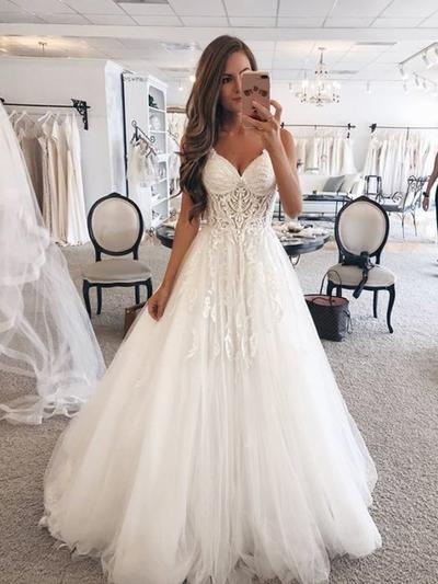 Sexy Floor-Length A-Line/Princess Wedding Dresses Sweetheart Tulle Sleeveless (002218063)