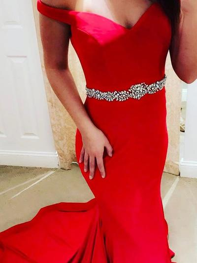 Satin Sleeveless Trumpet/Mermaid Prom Dresses Off-the-Shoulder Sash Sweep Train (018145926)