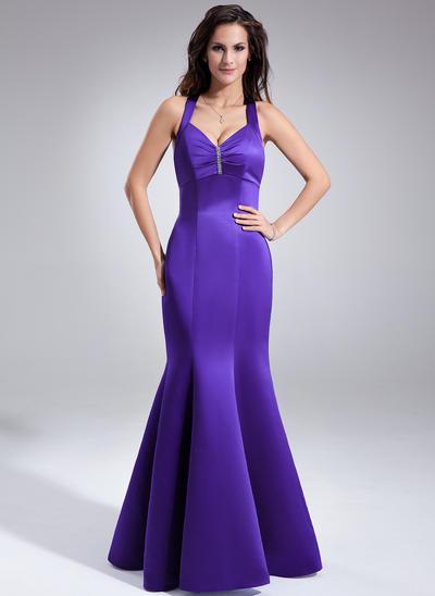 Satin Sleeveless Trumpet/Mermaid Bridesmaid Dresses V-neck Ruffle Beading Floor-Length (007197321)