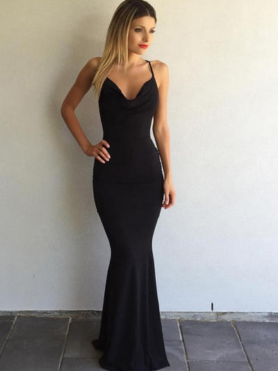 Jersey Sleeveless Trumpet/Mermaid Prom Dresses V-neck Sweep Train (018145965)