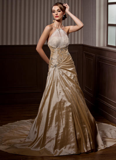 Delicate Chapel Train A-Line/Princess Wedding Dresses Halter Taffeta Sleeveless (002196827)