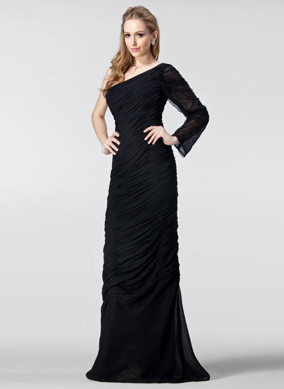 Sheath/Column One-Shoulder Chiffon Long Sleeves Floor-Length Ruffle Evening Dresses (017020986)
