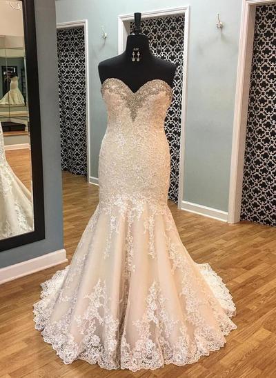 Gorgeous Court Train Trumpet/Mermaid Wedding Dresses Sweetheart Lace Sleeveless (002146915)