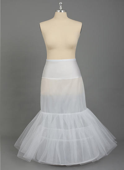 Übergröße Unterröcke Bodenlang Nylon/Tüll Netting Meerjungfrau und Trompete Kleid Gleiten 2 Ebenen Reifröcke (037190790)