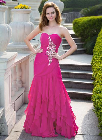 Chiffon Sleeveless Trumpet/Mermaid Prom Dresses Sweetheart Beading Cascading Ruffles Floor-Length (018024656)