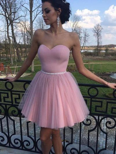 A-Line/Princess Sweetheart Tulle Sleeveless Short/Mini Ruffle Homecoming Dresses (022212457)