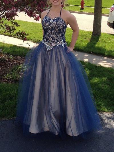Tulle Sleeveless Ball-Gown Prom Dresses Halter Beading Floor-Length (018210337)