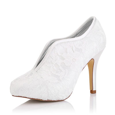 Women's Boots Dyeable Shoes Stiletto Heel Lace Satin Yes Wedding Shoes (047206227)