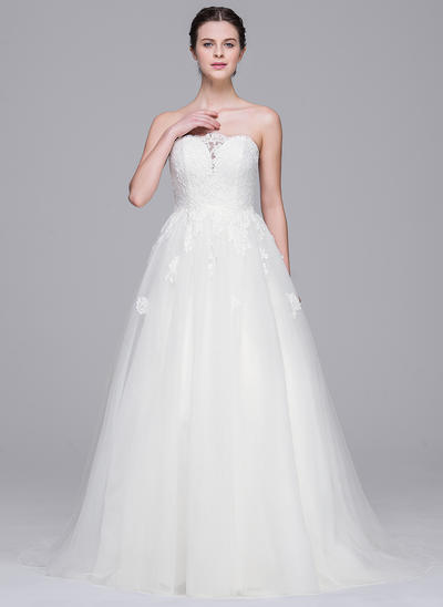 Beautiful Sweep Train A-Line/Princess Wedding Dresses Sweetheart Tulle Lace Sleeveless (002210665)