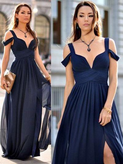 Chiffon Sleeveless A-Line/Princess Bridesmaid Dresses V-neck Ruffle Floor-Length (007211586)