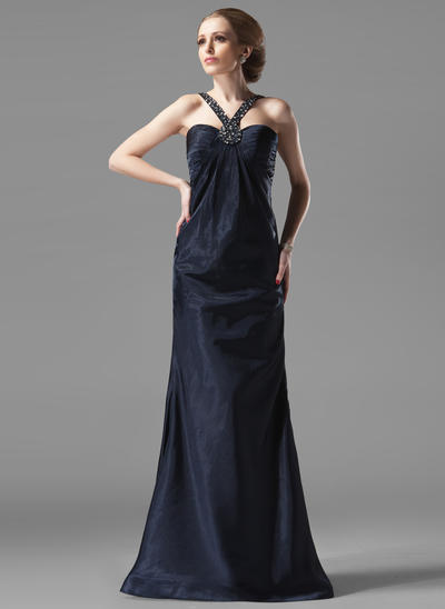 Sheath/Column Sweetheart Charmeuse Sleeveless Floor-Length Ruffle Beading Evening Dresses (017002273)