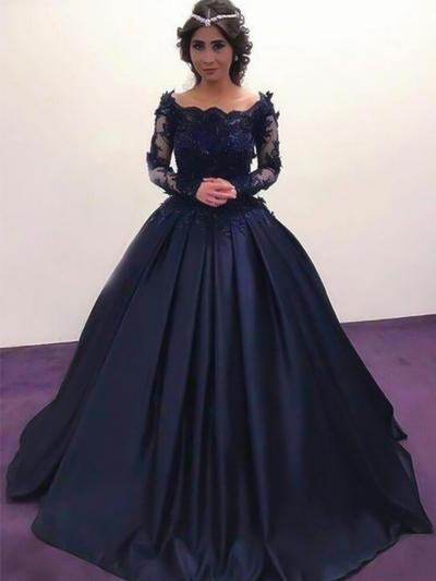 Long Sleeves Ball-Gown Prom Dresses Off-the-Shoulder Beading Appliques Lace Floor-Length (018217918)